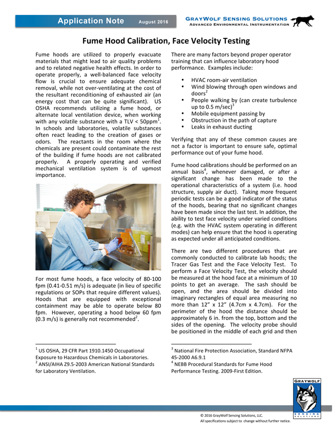 Fume Hood Calibration, Face Velocity Testing Application Note