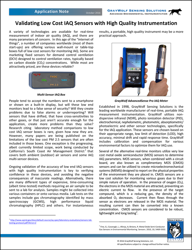 Validating Low Cost IAQ Sensors with High Quality Instrumentation Application Note